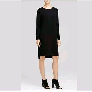 Vince Small T Shirt Dress Black Faux Leather Trim